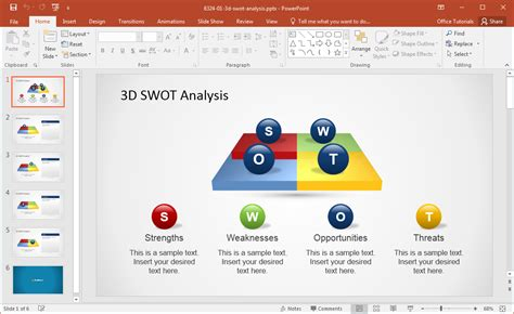 swot analysis ppt template free 3d swot powerpoint template