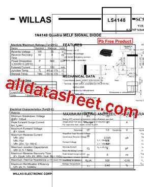 ls 4148 diode ls4148 データシート pdf willas electronic corp