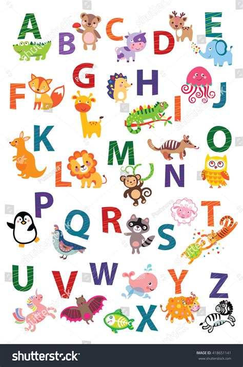 How To Start A Home Decor Line Cute Animal Alphabet English Alphabet Poster Stock Vector