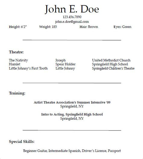 Acting Resume Template For Microsoft Word by Beginner Acting Resume Template Word Templates Resume
