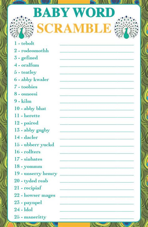 word themes games answers baby shower game word scramble peacock theme instant
