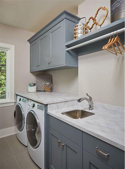 BM Grey Pinstripe. Laundry room cabinet paint color BM