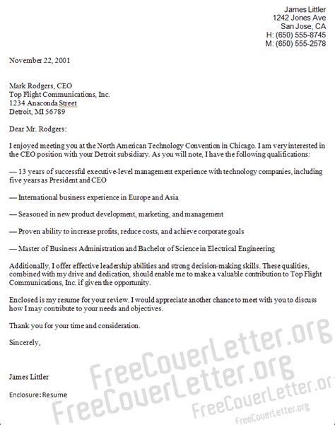 ceo position cover letter sle