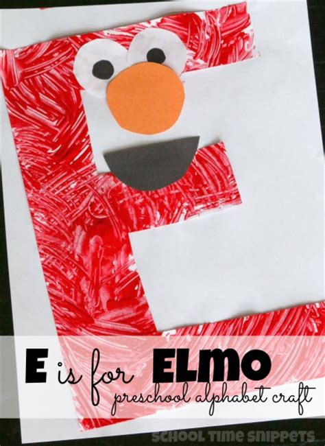 e is for elmo preschool alphabet craft time snippets
