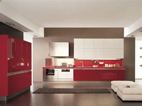 Red Kitchen Tile Backsplash by Cuisine Rouge Et Grise Qui Incarne L Id 233 E D Une Vie Moderne