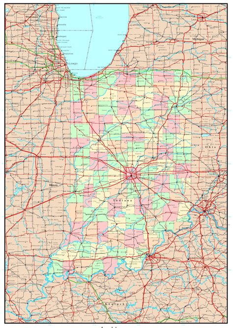 indiana road map indiana political map