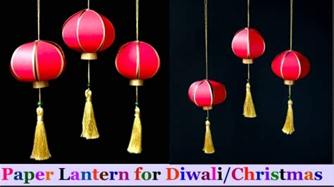 How To Make Paper Lantern For Diwali - how to make paper lantern akash kandil at home diwali