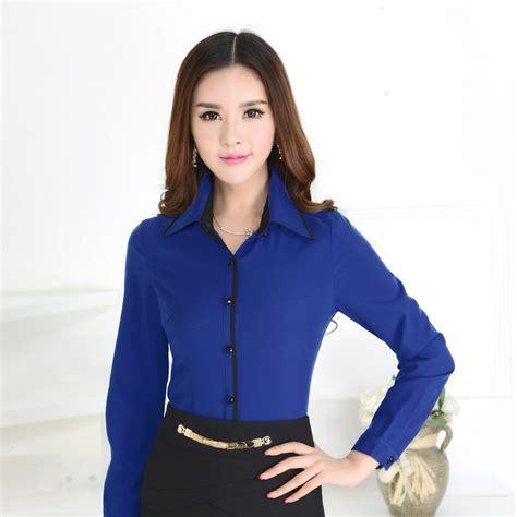 uniforme blusas para damas formal camisas azules mujeres trabajan blusas de manga