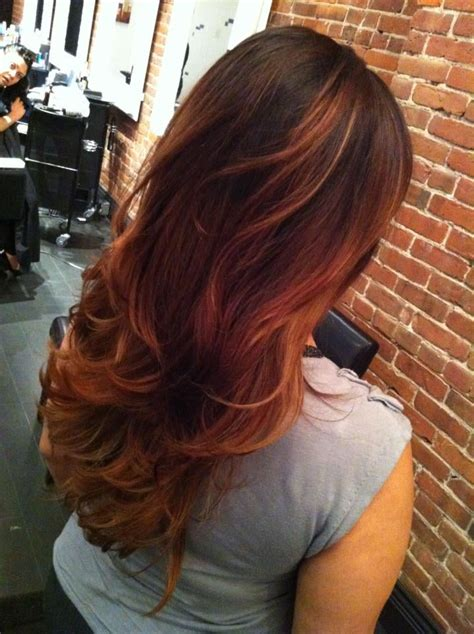 Auburn With Ombre Highlights | auburn with ombre highlights hairstyle gallery