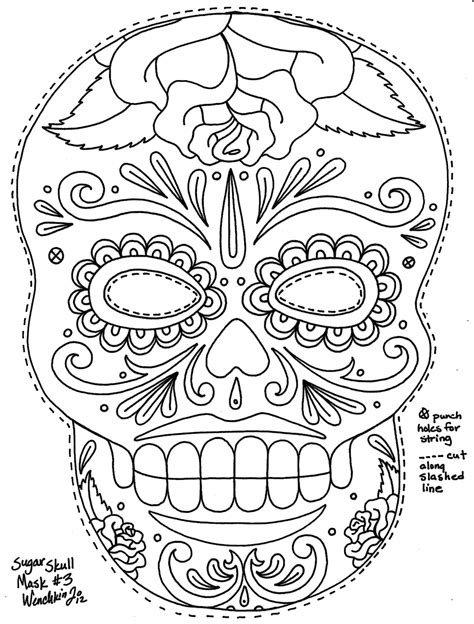 sugar skull coloring page pdf free coloring pages of sugar skull