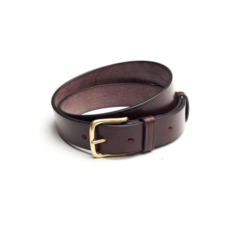 bridle leather belt with brass buckle brown dege
