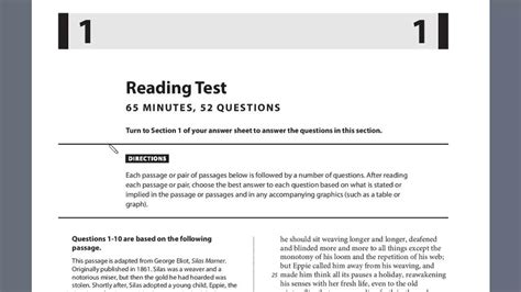 sat practice reading section sat test 7 section 1 1 6 youtube