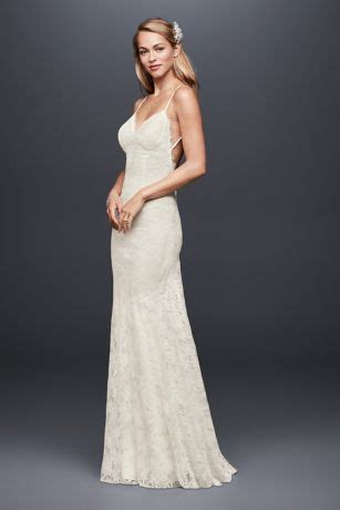 soft lace sheath wedding dress with low back | david's bridal
