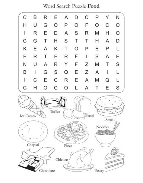 printable coloring pages esl food vocabulary words word search puzzle worksheet