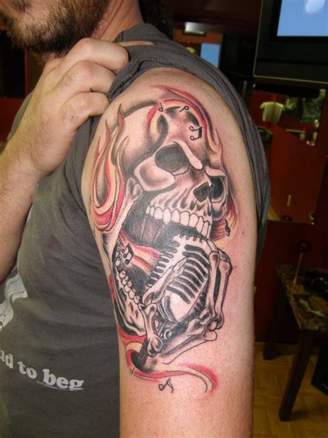 microphone skull tattoo rock n skull tattoo picture at checkoutmyink com