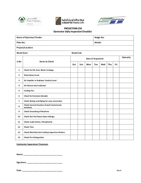 Weekly Generator Check List Generator Checklist Template