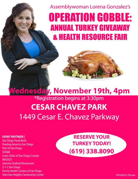 Free Turkey Giveaway In San Diego - turkey time with lorena g san diego reader