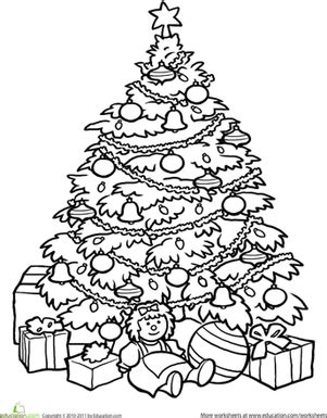 christmas tree math coloring page christmas tree worksheet education com