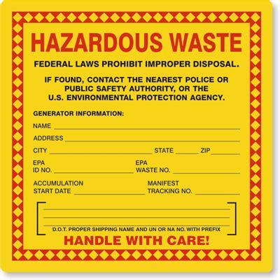 printable hazard label hazardous waste labels