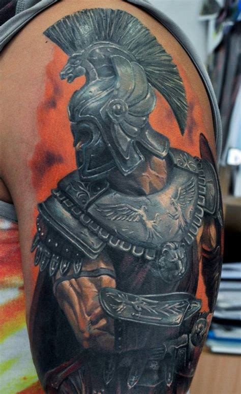 roman warrior tattoo designs dmitriy samohin expresses his attention to detail in this