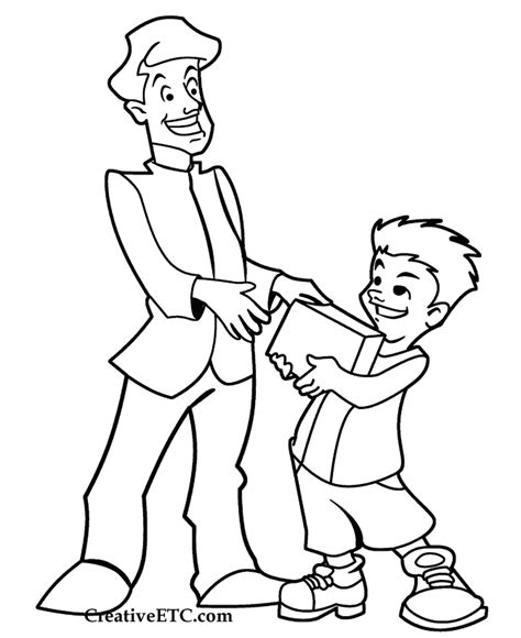 Father S Day Coloring Page Giving A Gift Giving Coloring Pages