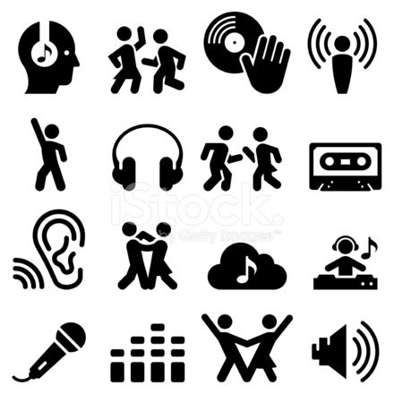 dance party icons black series stock vector freeimages.com