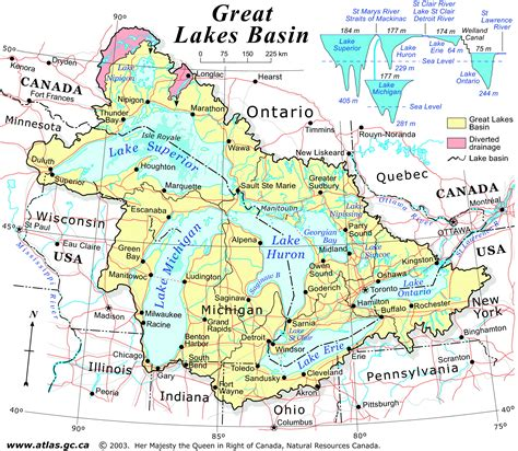 lakes of canada map the great lakes