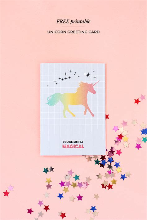 Printable Birthday Cards Unicorn | printable unicorn greeting card magical unicorn