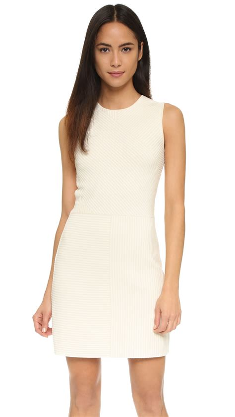 white knit dress theory irelia geometric knit dress in white lyst