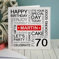 70th birthday card personalised 70th birthday card by a type of design