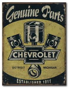 Vintage Chevrolet Parts Chevrolet Genuine Parts Tin Sign Chevymall