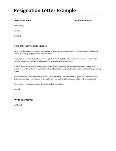 Resignation Letter Sle Probation Resignation Letter Appropriate Letter Of Resignation To