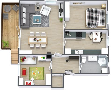 House Design Layout 3d | 50 3d floor plans lay out designs for 2 bedroom house or