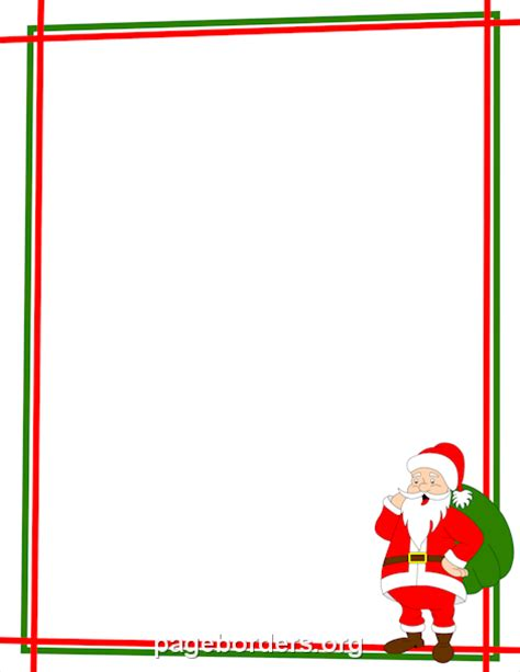free printable christmas paper templates santa claus border christmas winter stationery only