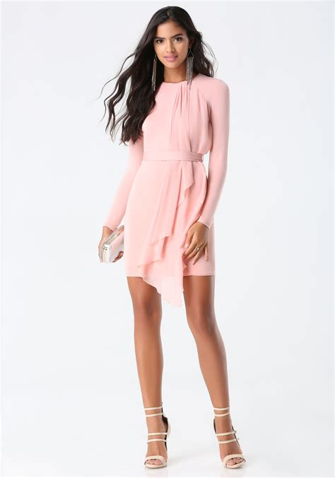 asymmetric drape dress bebe asymmetric drape dress in pink lyst