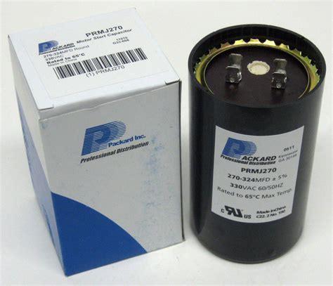 packard motor start capacitor packard prmj270 motor start capacitor 270 324 mfd uf 330 vac ebay