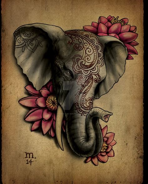 indian flower tattoo 11 indian elephant designs