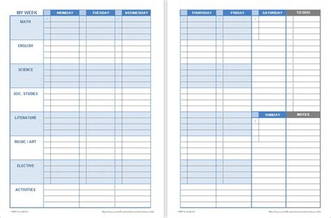 weekly planner template for students 15 best education resources images on sle