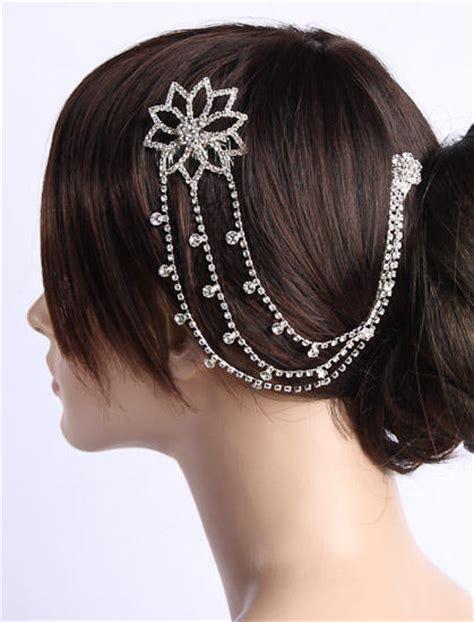 hair drape rhinestone floral swag drape hair comb wedding tiaras