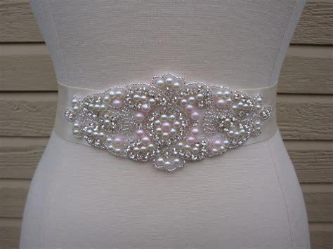 bridal sash wedding dress sash belt pink pearl and