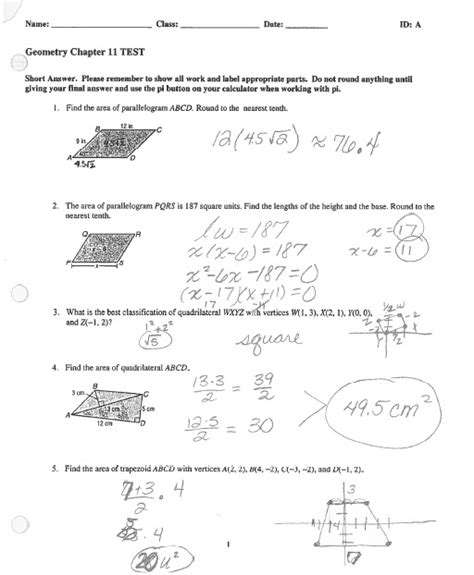 chapter 11 section quiz holt geometry 100 glencoe geometry chapter 8 worksheet answers ap