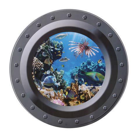 Porthole Windows Bathroom Decorating Fish Ship 3d View Porthole Wall Stickers Decal Sea Cruise Mural Decor Ebay