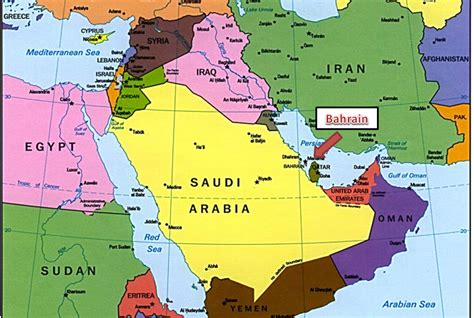 middle east map bahrain middle east bahrain map