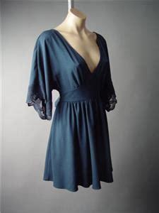 Blue V Neck S M L Dress 31426 navy blue v neck embroidered lace kimono sleeve empire 150 mv dress s m l ebay