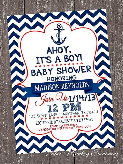 Nautical Baby Shower Invites by Chevron Nautical Baby Shower Invitations 1 00 Each With Envelope Invitation Wording You