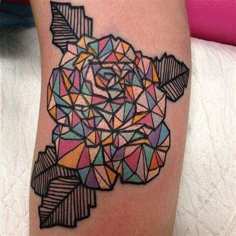 tattoo geometric rose great geometric colourful rose tattoo tattooimages biz