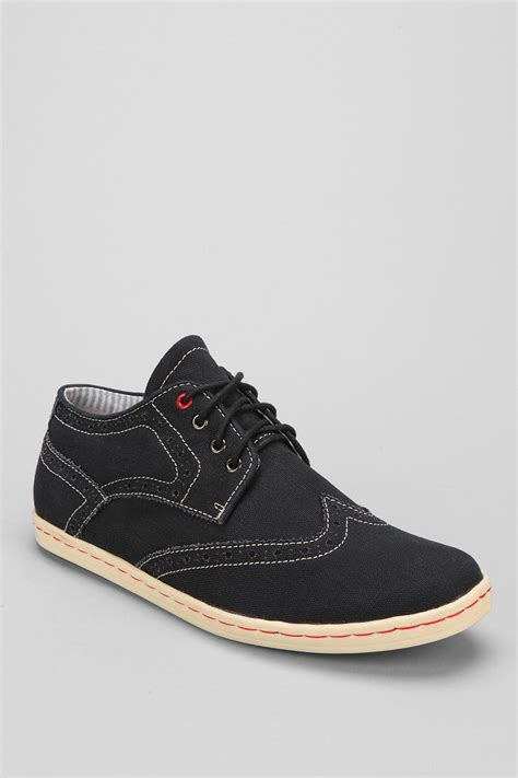 nick shoes lyst ben sherman nick canvas brogue sneaker in black for