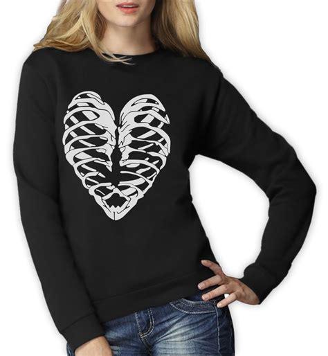 Hoodie Skeleton Zalfa Clothing skeleton ribcage sweatshirt fashion black top