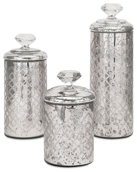 Contemporary Kitchen Canisters by Nikki Chu Waldorf Mercury Glass Canisters Set Of 3