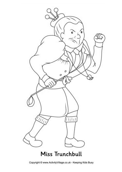 Miss Trunchbull Colouring Page
